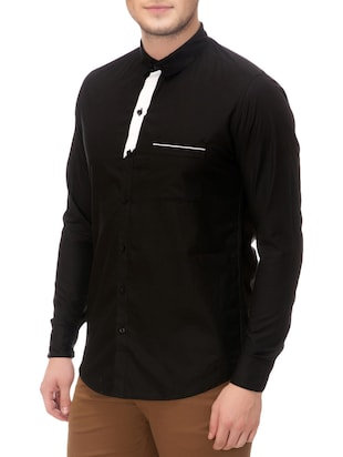 black cotton casual shirt - 14542300 - Standard Image - 2