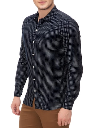 navy blue cotton casual shirt - 14542303 - Standard Image - 2