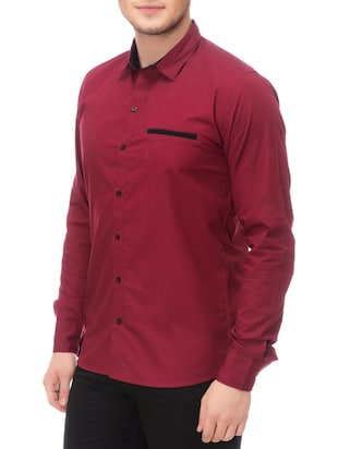 magenta cotton casual shirt - 14542311 - Standard Image - 2