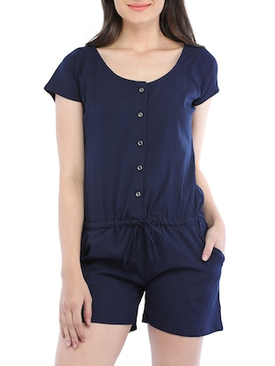 blue viscose romper jumpsuit