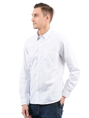 blue cotton casual shirt - 14543251 - Standard Image - 2