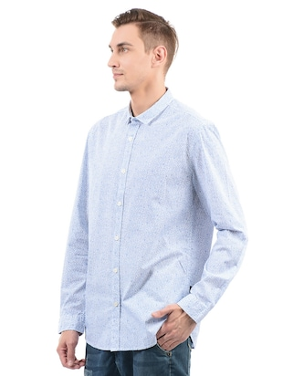 blue cotton casual shirt - 14543261 - Standard Image - 2