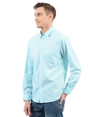 blue cotton casual shirt - 14543278 - Standard Image - 2