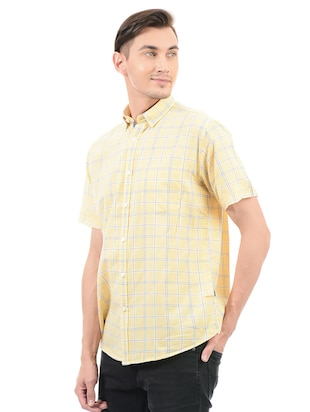 yellow cotton blend casual shirt - 14543291 - Standard Image - 2