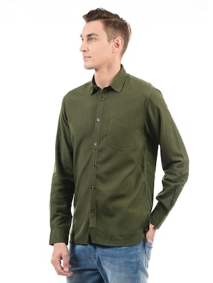 green cotton casual shirt - 14543322 - Standard Image - 2