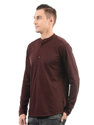 red cotton casual shirt - 14543346 - Standard Image - 2