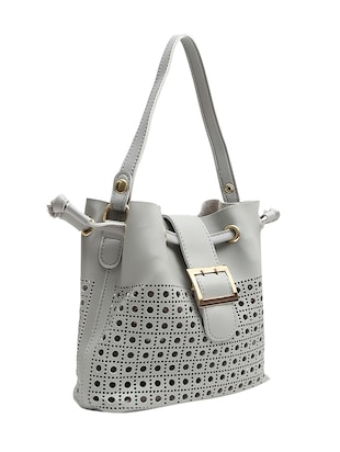 grey leatherette regular handbag - 14543737 - Standard Image - 5