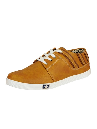 tan leatherette lace up sneaker - 14543742 - Standard Image - 2