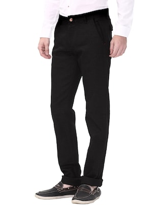 black cotton flat front casual trouser - 14543925 - Standard Image - 2