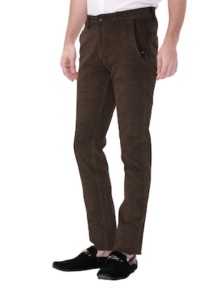 brown cotton corduroy casual trousers - 14543954 - Standard Image - 2