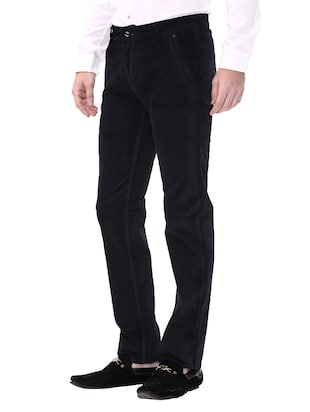 navy blue cotton corduroy casual trousers - 14543962 - Standard Image - 2