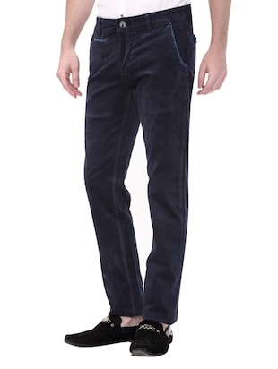 navy blue cotton corduroy casual trousers - 14543985 - Standard Image - 2