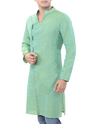 green cotton long  kurta - 14543996 - Standard Image - 2