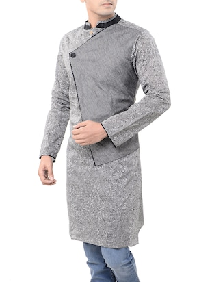 grey cotton long  kurta - 14544000 - Standard Image - 2