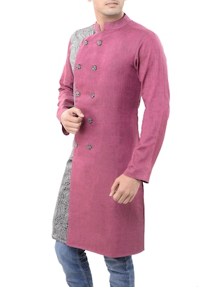 pink cotton long  kurta - 14544005 - Standard Image - 2