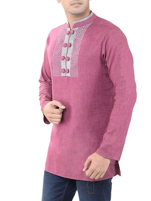 pink cotton short kurta - 14544017 - Standard Image - 2