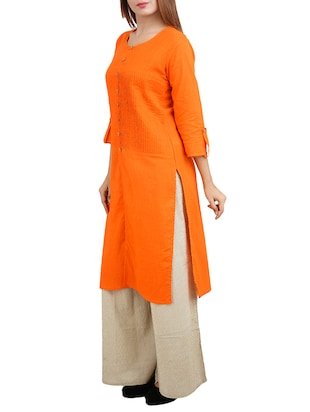 orange cotton high slit kurta - 14544261 - Standard Image - 2