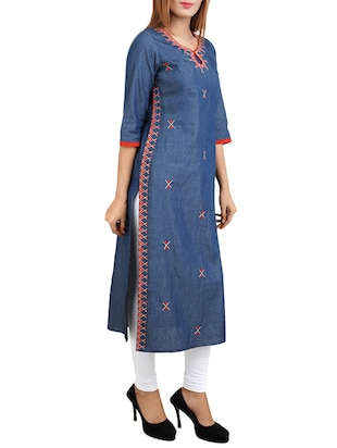 blue cotton straight kurta - 14544364 - Standard Image - 2