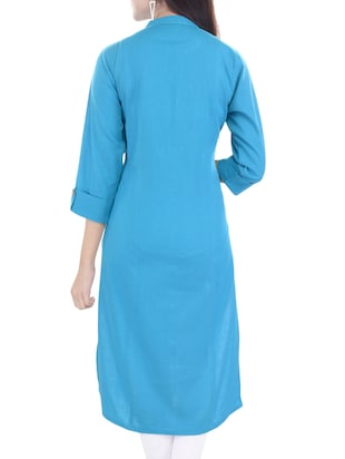Blue cotton straight kurta - 14544506 - Standard Image - 2