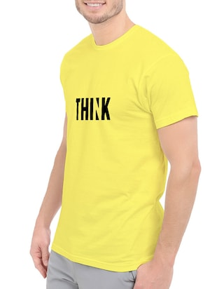 yellow cotton chest print tshirt - 14544631 - Standard Image - 2
