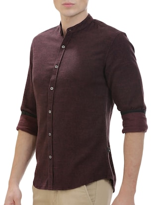 brown cotton casual shirt - 14545685 - Standard Image - 2