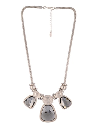 silver metal long necklace - 14545936 - Standard Image - 2