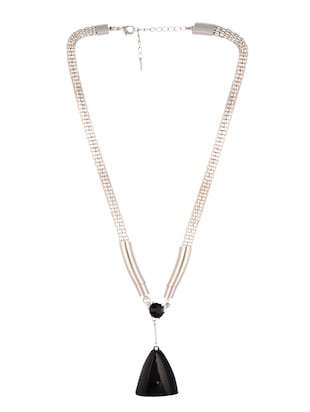 silver metal long necklace - 14545937 - Standard Image - 2
