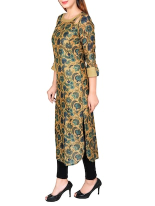 multicolored chanderi straight kurta - 14545961 - Standard Image - 2