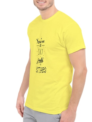 yellow cotton front print t-shirt - 14546357 - Standard Image - 2