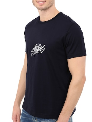 navy blue cotton chest print tshirt - 14546362 - Standard Image - 2