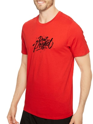 red cotton chest print tshirt - 14546364 - Standard Image - 2