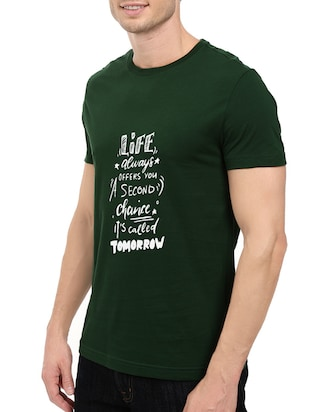 green cotton chest print tshirt - 14546380 - Standard Image - 2