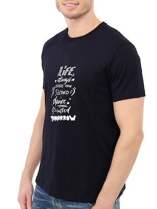 navy blue cotton chest print tshirt - 14546382 - Standard Image - 2