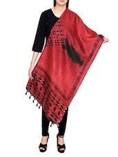 Red Poly Silk Tie & Dye Dupatta - By