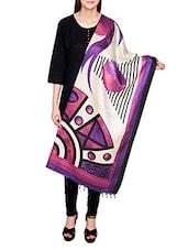 Purple Poly Silk Printed Dupatta - By