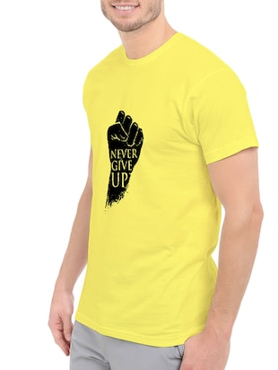 yellow cotton chest print tshirt - 14547402 - Standard Image - 2