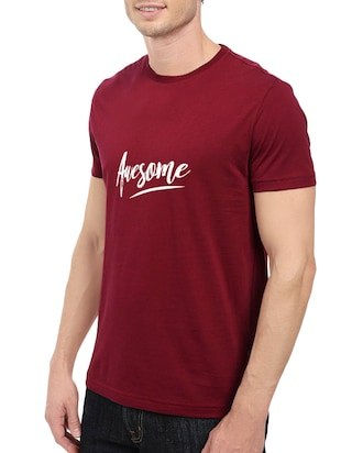 maroon cotton chest print tshirt - 14547416 - Standard Image - 2