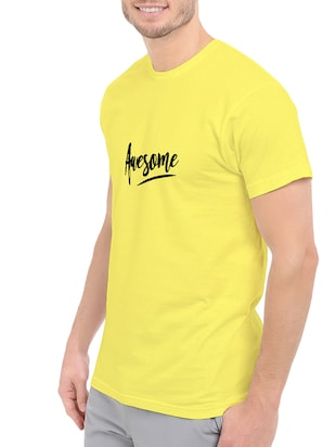 yellow cotton chest print tshirt - 14547422 - Standard Image - 2