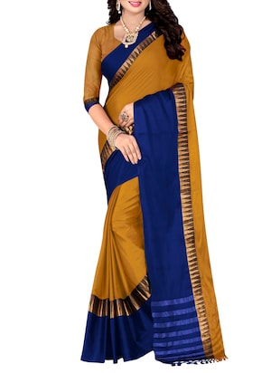 mustard bordered saree -  online shopping for Sarees