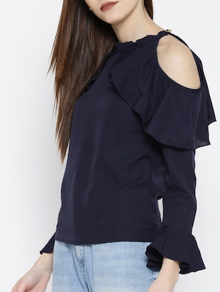 navy blue ruffled top - 14547761 - Standard Image - 2