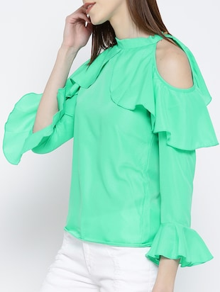 green ruffled top - 14547765 - Standard Image - 2
