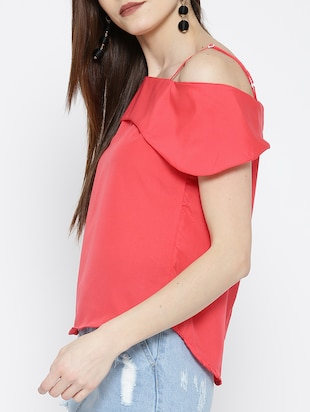 cold shoulder curved hem top - 14547777 - Standard Image - 2