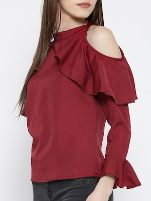 cold shoulder bell sleeved ruffle top - 14547787 - Standard Image - 2