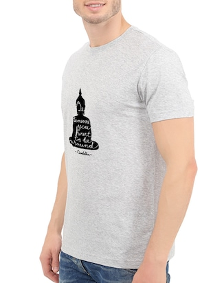 grey cotton chest print tshirt - 14547878 - Standard Image - 2