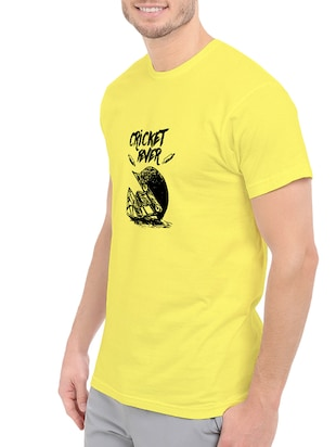 yellow cotton chest print tshirt - 14547903 - Standard Image - 2