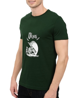 green cotton chest print tshirt - 14548083 - Standard Image - 2