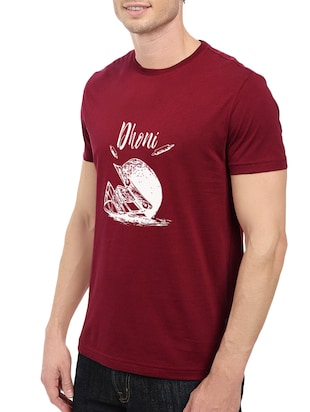 maroon cotton chest print tshirt - 14548084 - Standard Image - 2
