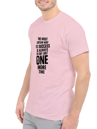 pink cotton front print t-shirt - 14548106 - Standard Image - 2