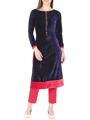 blue velvet straight kurta