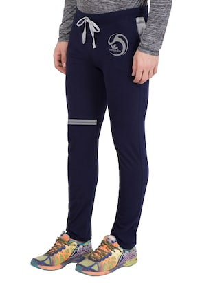 navy blue cotton  full length track pant - 14549626 - Standard Image - 2